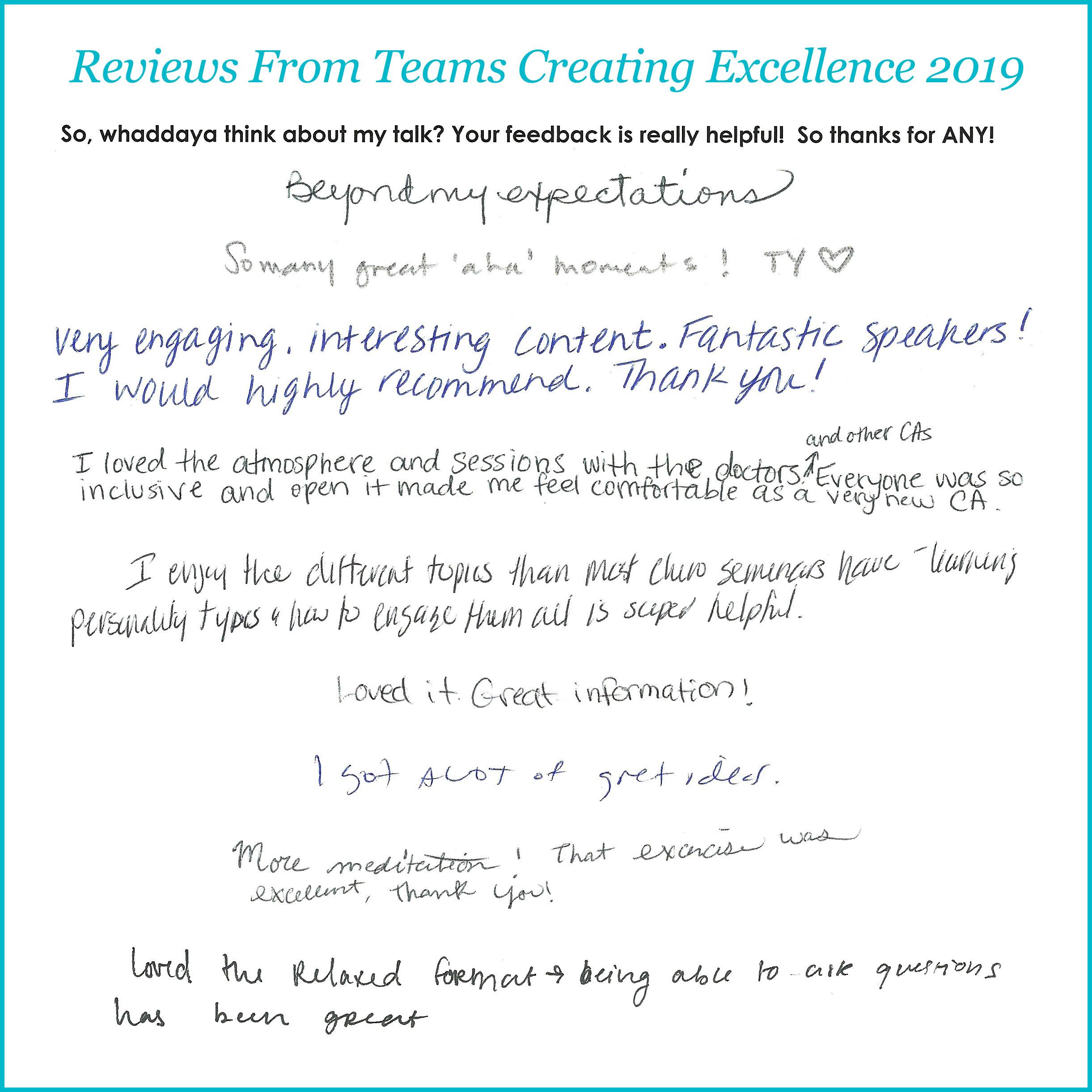 handwritten reviews